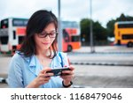 girl use smartphone on bus... | Shutterstock . vector #1168479046