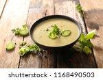 bowl of leek soup | Shutterstock . vector #1168490503