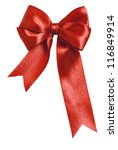 Small photo of Festive red bow made of ribbon isolated on white