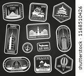 white travel stamps with major... | Shutterstock .eps vector #1168510426