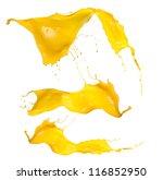 shot of yellow paint splashes ... | Shutterstock . vector #116852950