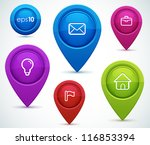 glossy map pointers with icons  ... | Shutterstock .eps vector #116853394