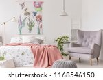 a sunny bedroom interior with a ... | Shutterstock . vector #1168546150