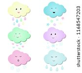 cute and fun colorful clouds... | Shutterstock .eps vector #1168547203