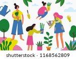 people plant trees. cartoon... | Shutterstock .eps vector #1168562809