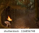 Forest With Haze  Mushroom And...