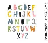 cartoon hand drawn alphabet.... | Shutterstock .eps vector #1168573390