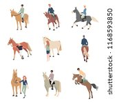 people on horseback. a rider on ... | Shutterstock .eps vector #1168593850