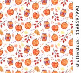 handdrawn seamless pattern with ... | Shutterstock . vector #1168597990