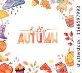 handdrawn autumn background... | Shutterstock . vector #1168597993