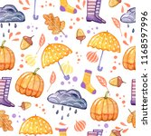 handdrawn seamless pattern with ... | Shutterstock . vector #1168597996