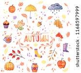 handdrawn autumn set with... | Shutterstock . vector #1168597999