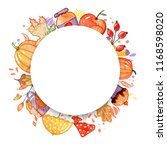 handdrawn autumn background.... | Shutterstock . vector #1168598020