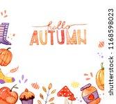handdrawn autumn background... | Shutterstock . vector #1168598023