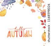 handdrawn autumn background... | Shutterstock . vector #1168598026