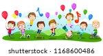 happy kids jumping  dancing ... | Shutterstock .eps vector #1168600486