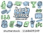 back to school icon set. doodle ... | Shutterstock .eps vector #1168609249