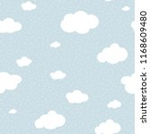 cute cloud seamless pattern... | Shutterstock .eps vector #1168609480