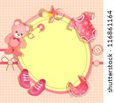 pink baby shower card with baby ... | Shutterstock .eps vector #116861164