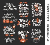 vector halloween set with... | Shutterstock .eps vector #1168612063
