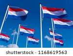 many dutch flags against a blue ... | Shutterstock . vector #1168619563