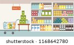 supermarket interior with... | Shutterstock .eps vector #1168642780