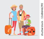 happy group of family traveler .... | Shutterstock .eps vector #1168646290