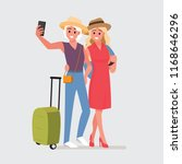 happy group of teen traveler ... | Shutterstock .eps vector #1168646296