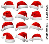 Set Of Red Santa Claus Hats...