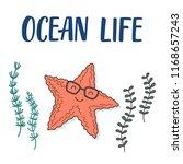 cool sea star cartoon... | Shutterstock .eps vector #1168657243