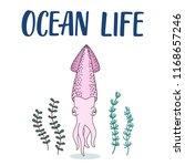 cute squid cartoon illustration ... | Shutterstock .eps vector #1168657246