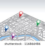 isometric vector map of city | Shutterstock .eps vector #116866486