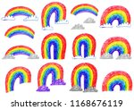 colored rainbow with clouds on... | Shutterstock . vector #1168676119