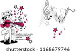 sitting cat playing pink guitar ...   Shutterstock .eps vector #1168679746