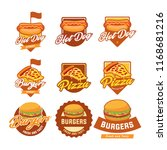 set of burgers  hotdog  and... | Shutterstock .eps vector #1168681216