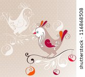 christmas bird on decorative... | Shutterstock .eps vector #116868508