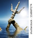 Statue of Neptune or Poseidon's arm holding trident coming up through the water .3d render - stock photo