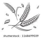 a few ears of wheat on a beige... | Shutterstock .eps vector #1168699039