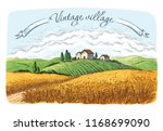 rural field with ripe wheat on... | Shutterstock .eps vector #1168699090