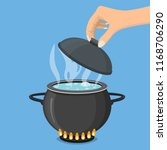 cooking pot on stove with water ... | Shutterstock .eps vector #1168706290
