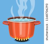 boiling water in pan. red... | Shutterstock .eps vector #1168706293