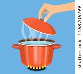 cooking pot on stove with water ... | Shutterstock .eps vector #1168706299