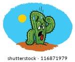 thirsty cactus in the desert... | Shutterstock .eps vector #116871979