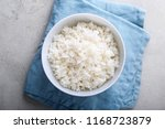 Bowl With Boiled White Rice On...