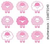 lambs  pastel pink patchwork... | Shutterstock . vector #116873140