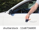 woman's hand presses button on... | Shutterstock . vector #1168736800