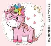 cute cartoon horse girl in pink ... | Shutterstock .eps vector #1168744186