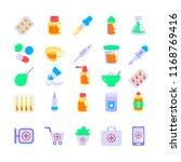 set of pharmacy icons in flat... | Shutterstock .eps vector #1168769416