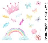 watercolor set of cute children'... | Shutterstock . vector #1168817590
