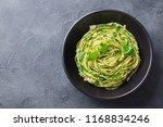 pasta spaghetti with pesto... | Shutterstock . vector #1168834246